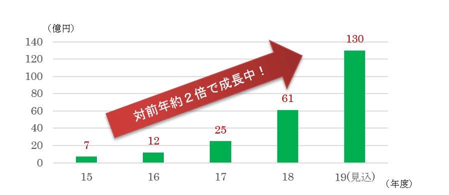 グラフ:対前年約2倍で成長中!(2015~2019(見込))
