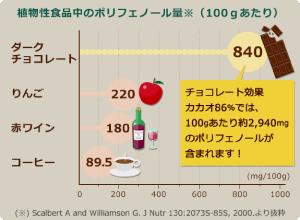 植物性食品中のポリフェノール量(100gあたり)
